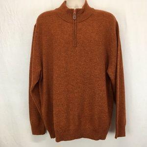 Jos A Bank Mens 80% Lamb's Wool Orange Sweater